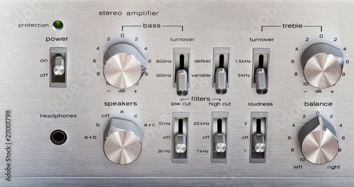 Vintage Stereo Amplifier Shiny Metal Front Panel Controls