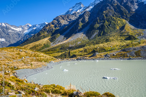 Deurstickers Oceanië Hooker lake in Aoraki Mount Cook, New Zealand