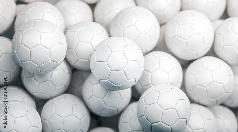 Photo  Blank white soccer ball stack mock up, top view, 3d rendering