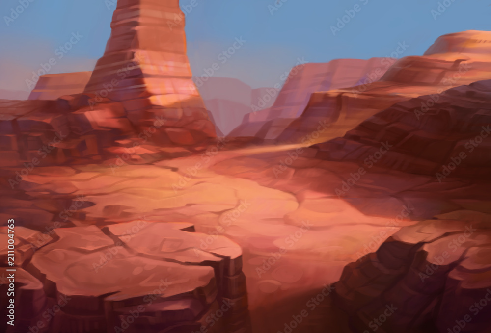 Wild west Texas desert landscape with mountains of canyon. Realistic Cartoon style for game art and animation.
