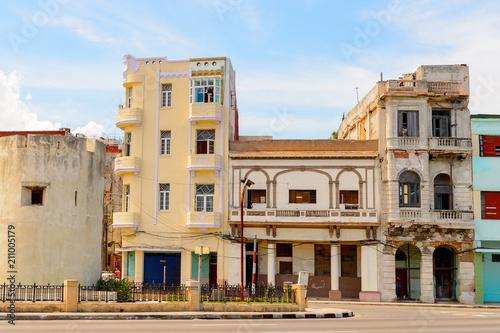 Architecture of the Atlantic coast of  Havana, the capital of Cuba Canvas Print