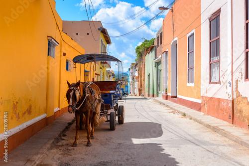 Horse carriage in Trinidad, Cuba. UNESCO World Heritage Fototapet