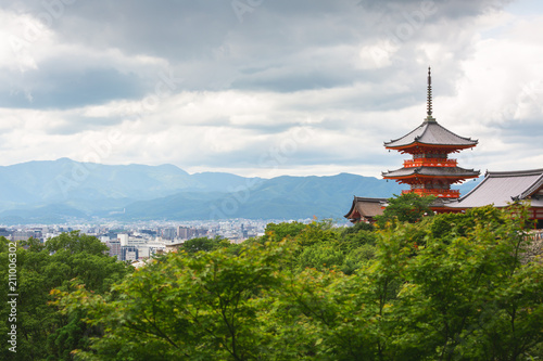 Staande foto Kyoto Kyoto city and red pagoda in summer