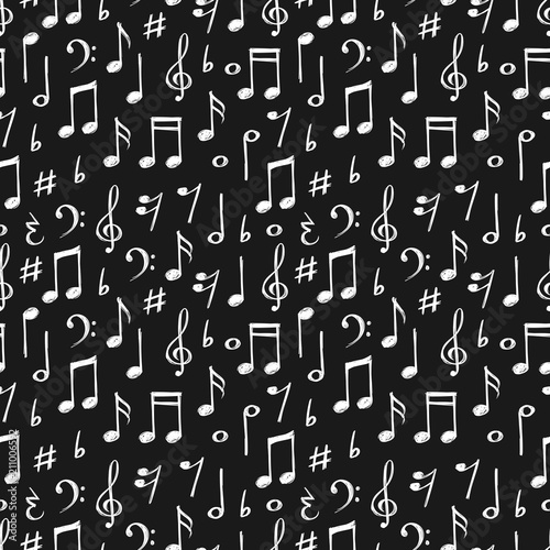 Photo Chalk music notes and signs seamless pattern