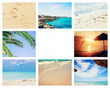 Collage photo sea travel. Selective focus.