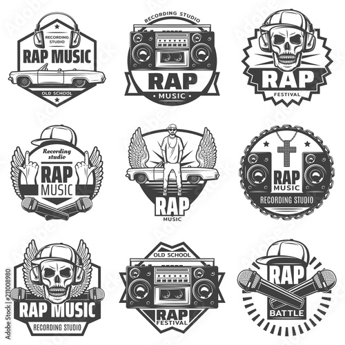 Fotografie, Obraz  Vintage Monochrome Rap Music Labels Set