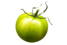 Delicious Single Green Tomato Isolated On White Background With Clipping Path