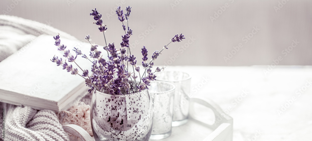 Fototapeta composition with lavender in a glass