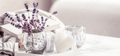 Obraz composition with lavender in a glass - fototapety do salonu