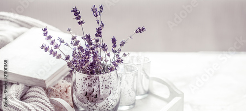 Fotobehang Lavendel composition with lavender in a glass