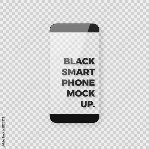 Realistic Vector Smartphone Mockup With Edgeless Borderless Bezel Less Display Screen Shiny Glossy Black Smart