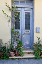 Blue Door In Mediterranean Sty...