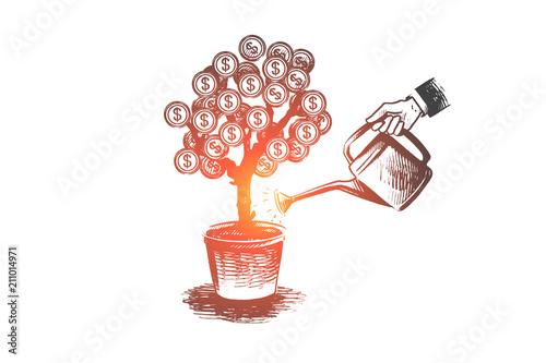 Fototapeta Investor, finance, money, growth concept. Hand drawn isolated vector. obraz