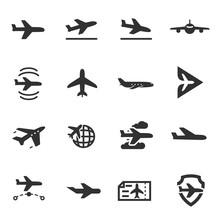 Plane, Passenger Airplane, Monochrome Icons Set. Aircraft, Simple Symbols Collection
