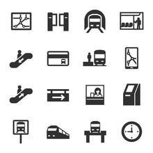 Metro, Monochrome Icons Set. S...