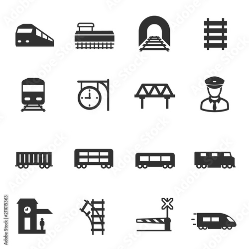Fotografía  train and railways, monochrome icons set