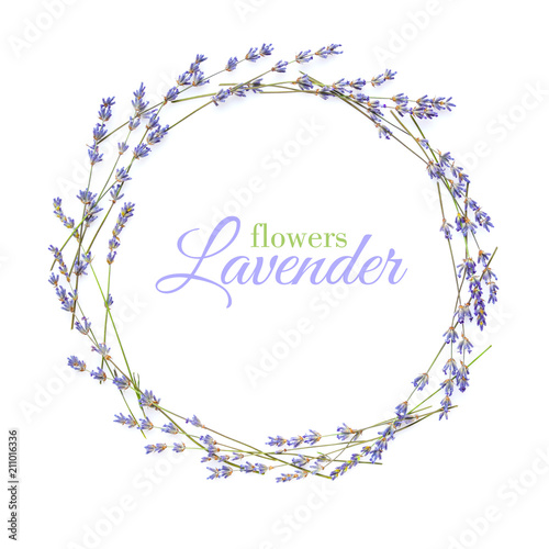 Foto op Canvas Bloemen Lavender flowers arranged in circle with space for your text on a white background
