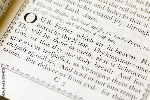 Fotografía  The Lord's Prayer from the Church of England Book of Common Worship (1750)