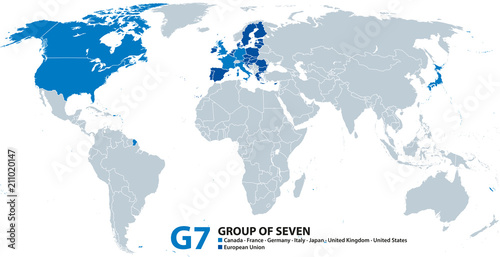 G7, Group of Seven, infographic and map. Worlds largest ...