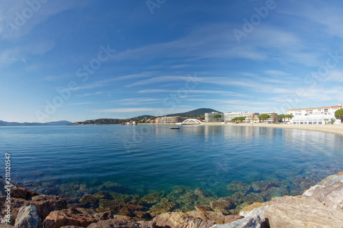фотография Sainte Maxime Beach and famous bridge - French Riviera - France
