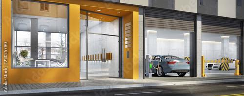 Fotografie, Obraz  Eingang zum Gebäude und Parkplatz