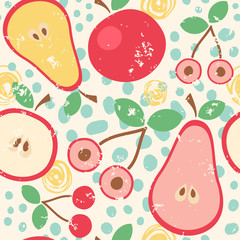 Tapeta Seamless vector pattern with fruits in retro colors.