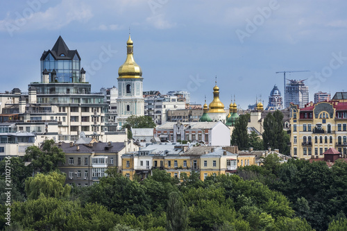 Keuken foto achterwand Buenos Aires Aerial top view of Kiev churches on hills, Kyiv city, Ukraine