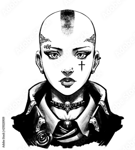 Fototapeta Bald girl skinhead in jacket
