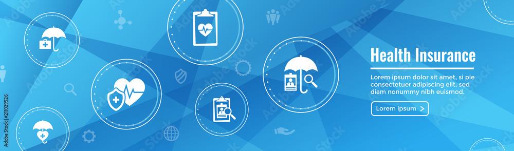 Fototapeta Health insurance Web Banner -- Umbrella icon set with medical icons