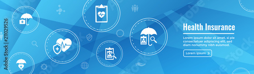 Stampa su Tela  Health insurance Web Banner -- Umbrella icon set with medical icons