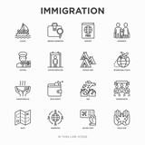 Immigration thin line icons set: immigrants, illegals, baggage examination, passport, international flights, customs, inspection, refugee camp, demonstration. Modern vector illustration.