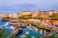 Sunset View Of Marina In Biarritz, France