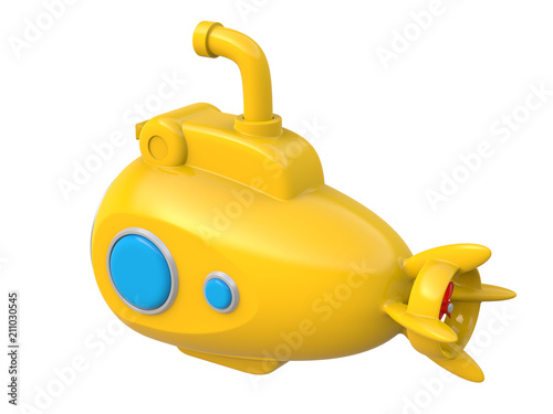Photo  Abstract yellow toy submarine isolated on white background