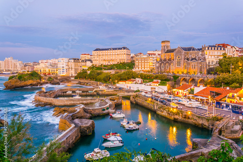 Sunset view of marina in Biarritz, France Wallpaper Mural