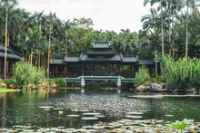 Landscape Of Old Oriental Building On Lake