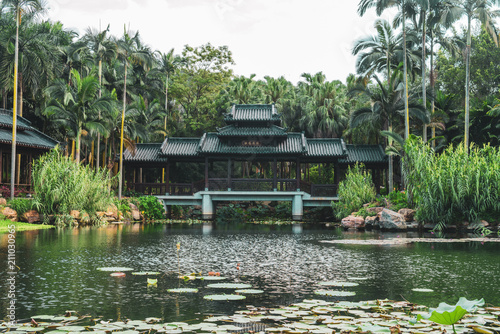 Spoed Foto op Canvas Asia land Landscape of old oriental building on lake