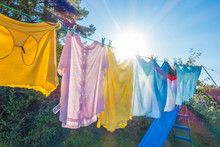 Clothes Hanging To Dry On A Wa...