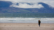 sandy beach with waves, photographed at the Atlantic ocean, Inch Beach, West Ireland, Ring of Kerry