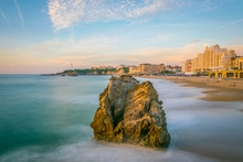 Sunset View Of The Grande Beach In Biarritz, France