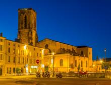 Night View Of The Église Saint-Sauveur In La Rochelle, France