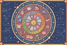 Vector Cute Zodiac Circle Post...