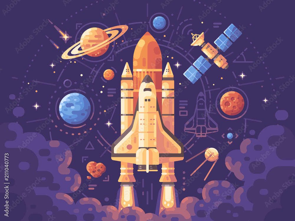 Fototapety, obrazy: Space exploration concept. Space objects flat illustration. Shuttle launch background. Colorful astronomy banner