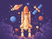 Space Exploration Concept. Space Objects Flat Illustration. Shuttle Launch Background. Colorful Astronomy Banner