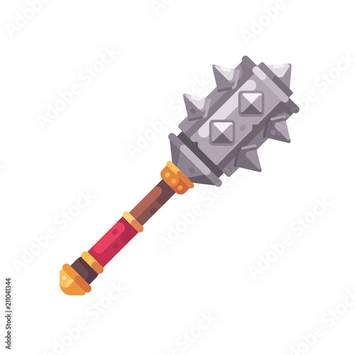 Fototapeta Medieval fantasy mace flat icon. Game weapon illustration. obraz
