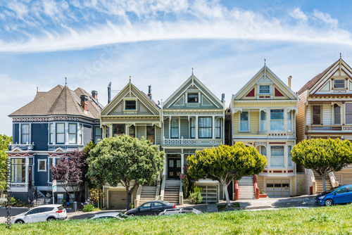 Autocollant pour porte San Francisco Painted Ladies of San Francisco, California, USA.