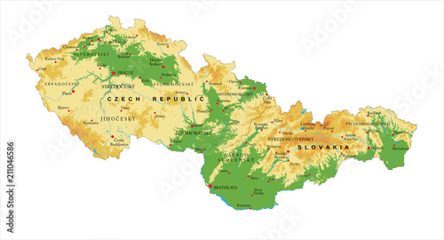 Fotografía Czech Republic and Slovakia physical map