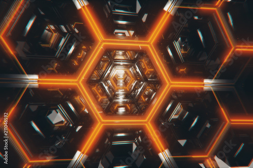 Photo Infinite 3d illustration flight in a bright futuristic corridor made of metal
