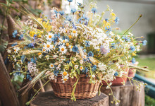 Wild Flowers In A Basket On A Rustic Background. Vintage Scenery.