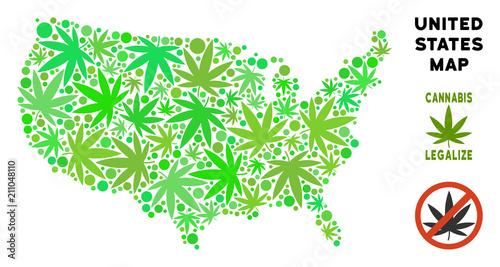 Royalty free marijuana USA map mosaic of weed leaves ...