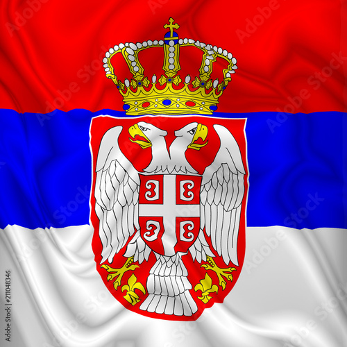 Keuken foto achterwand Draw Serbia Flag Waving Digital Silk Satin Fabric